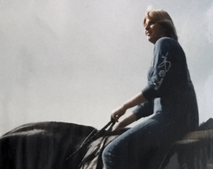 sitting on a horse